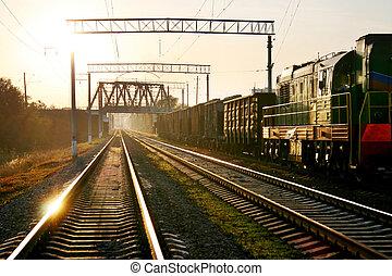 railway on sunset