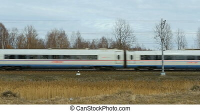 Railway passenger express Peregrine side view - April, St....