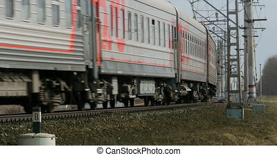 passenger train is passing by - Railway passenger train is...
