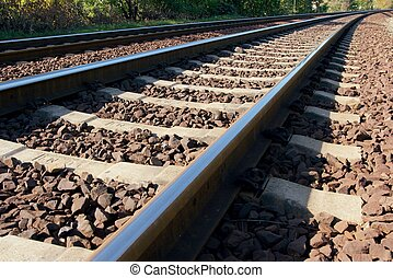 Railway tracks viewed from close