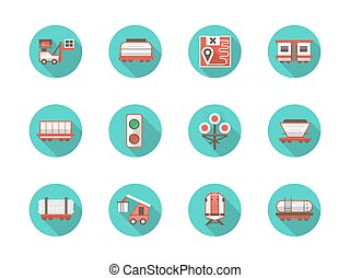 Railway platforms round flat blue vector icons set