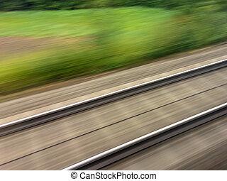 railway., pociąg, sztachety