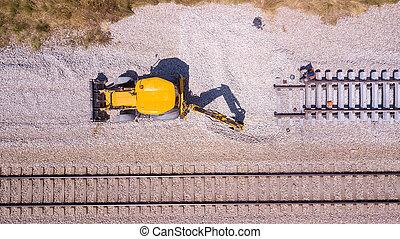 railway., réparation, track., cassé, ouvriers chemin fer