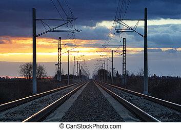 Railway, railorad at sunset
