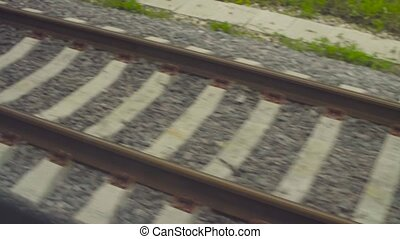 Railway rails shooting from a moving train