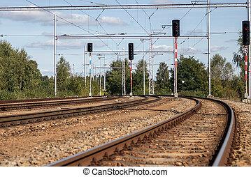railway sled, drátý, dopravní světla, mocnina, pás, ...
