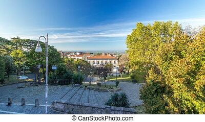 Railway station and park in beautiful town of Albano Laziale...
