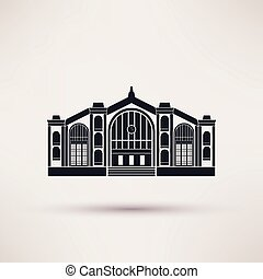 Railway station building. Icon in the flat style. - Railway...