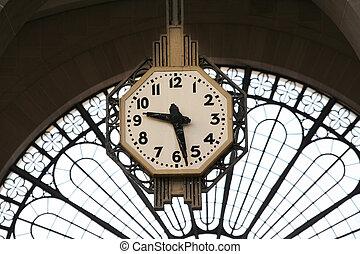 Railway Station Clock - Railway station clock in Paris. Gare...