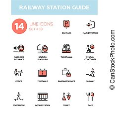 Railway station guide - modern simple icons, pictograms set...