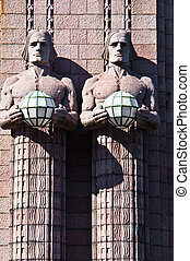 Railway station Helsinki - famous art nouveau sculptures at ...