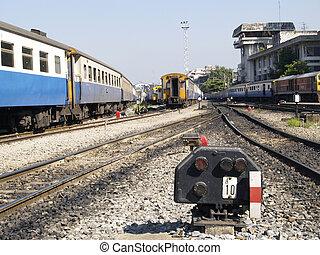 Railway station in Bangkok - Old fashioned railway signal...