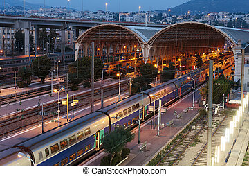Railway Station In Nice at night, France