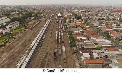 railway station in Surabaya Indonesia - freight train with...