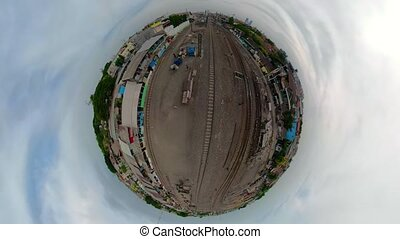 railway station in Surabaya Indonesia - little planet view ...