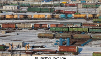 railway station marshalling yard  winter, aerial view