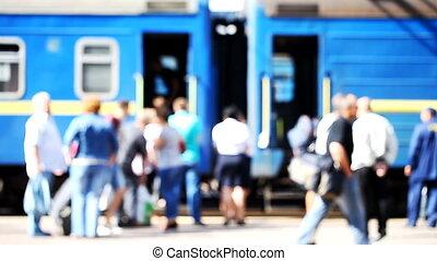 railway station, people on the platform - railway station, ...