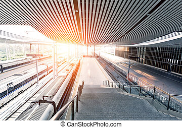 railway station with sunset