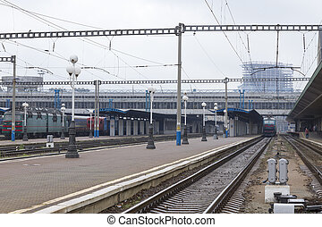 Railway station with trains