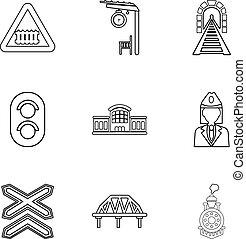 Railway steward icons set, outline style - Railway steward...