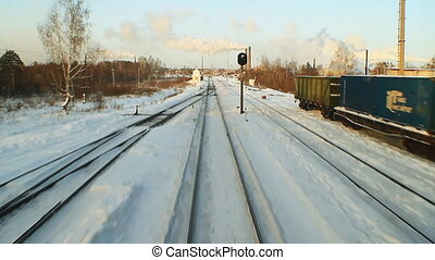 Railway - Snowy Railroad Tracks Industrial landscape