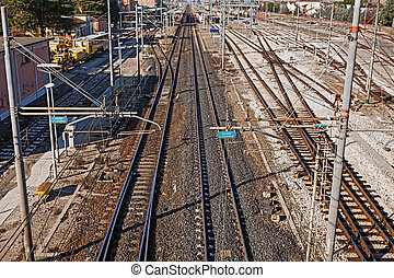 railway - railroad rail yard with points and electric line -...