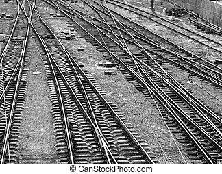Railway - Railroad tracks. Top view. Black and white image,...
