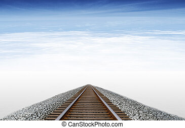 Railway - Imaginary railway runs to the horizon in a sky...
