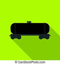 Railway tank car. Oil single icon in flat style vector symbol stock illustration web.