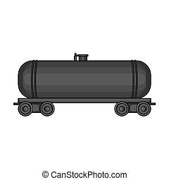 Railway tank car. Oil single icon in monochrome style vector symbol stock illustration web.