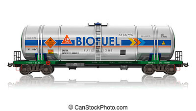 Railway tankcar with biofuel - Creative abstract fuel, oil...