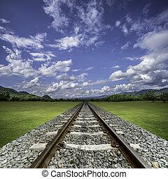Railway thru green grass