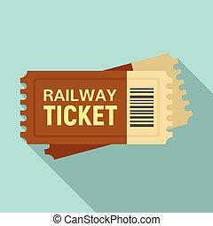 Railway ticket icon, flat style