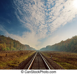 railway to horizon in forest on autumn under clouds in dramatic sky
