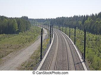 Railway track - A high speed, modern railroad thru a green ...