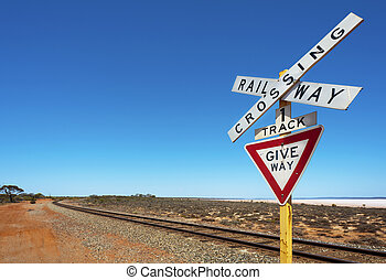 Railway Track And Crossing Sign