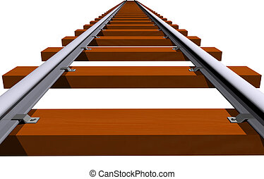 Railway track closeup - Endless 3D railway track isolated on...
