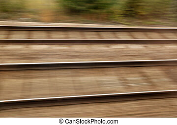 Railway track high speed blur background