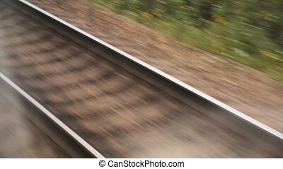 Railway track in closeup