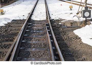 Railway tracks and switch in snow