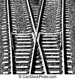 Railway Tracks and Switch. Vector illustration.