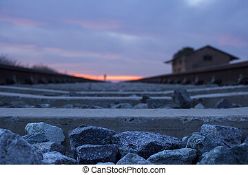 Railway tracks at dusk