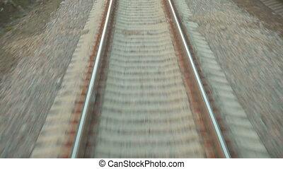 Railway tracks at high speed POV