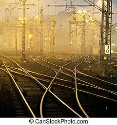 Confusing railway tracks near Duesseldorf Hbf, Germany, at night.
