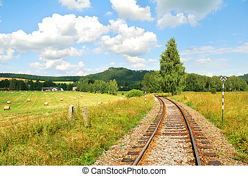 Railway tracks in a beautiful countryside landscape