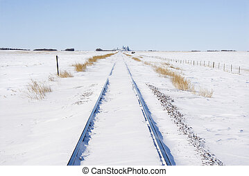 Railway tracks in snow.