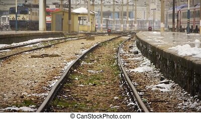 Railway tracks in winter