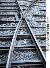 Railway tracks made ??of steel that is placed on a piece of ...