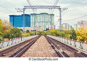 Railway tracks on the bridge.