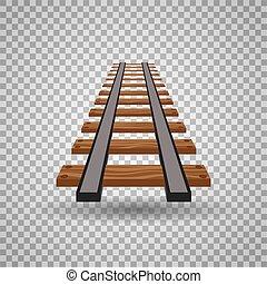 Railway tracks or rail road line on transparent background